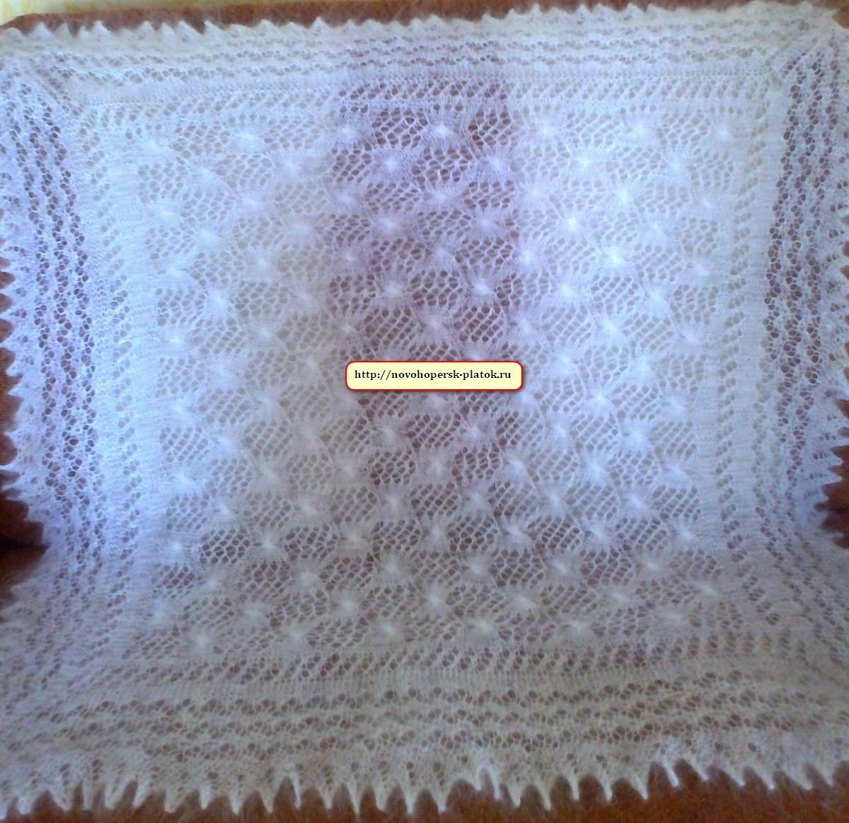 схема вязания пухового платка спицами