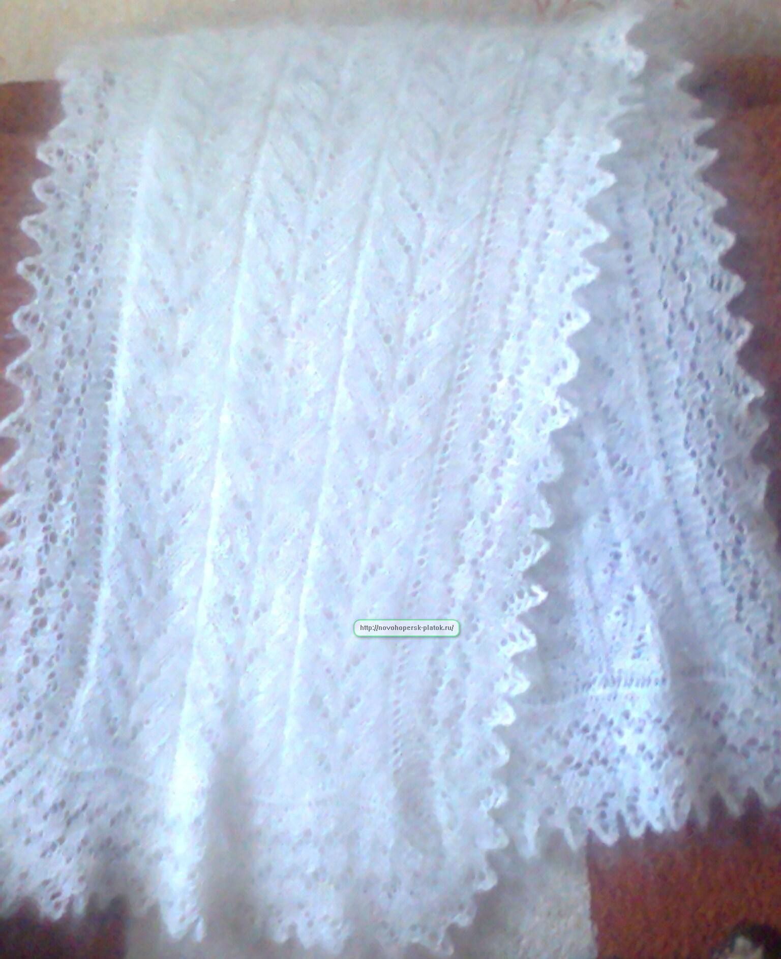 Как связать на спицах пуховый шарф