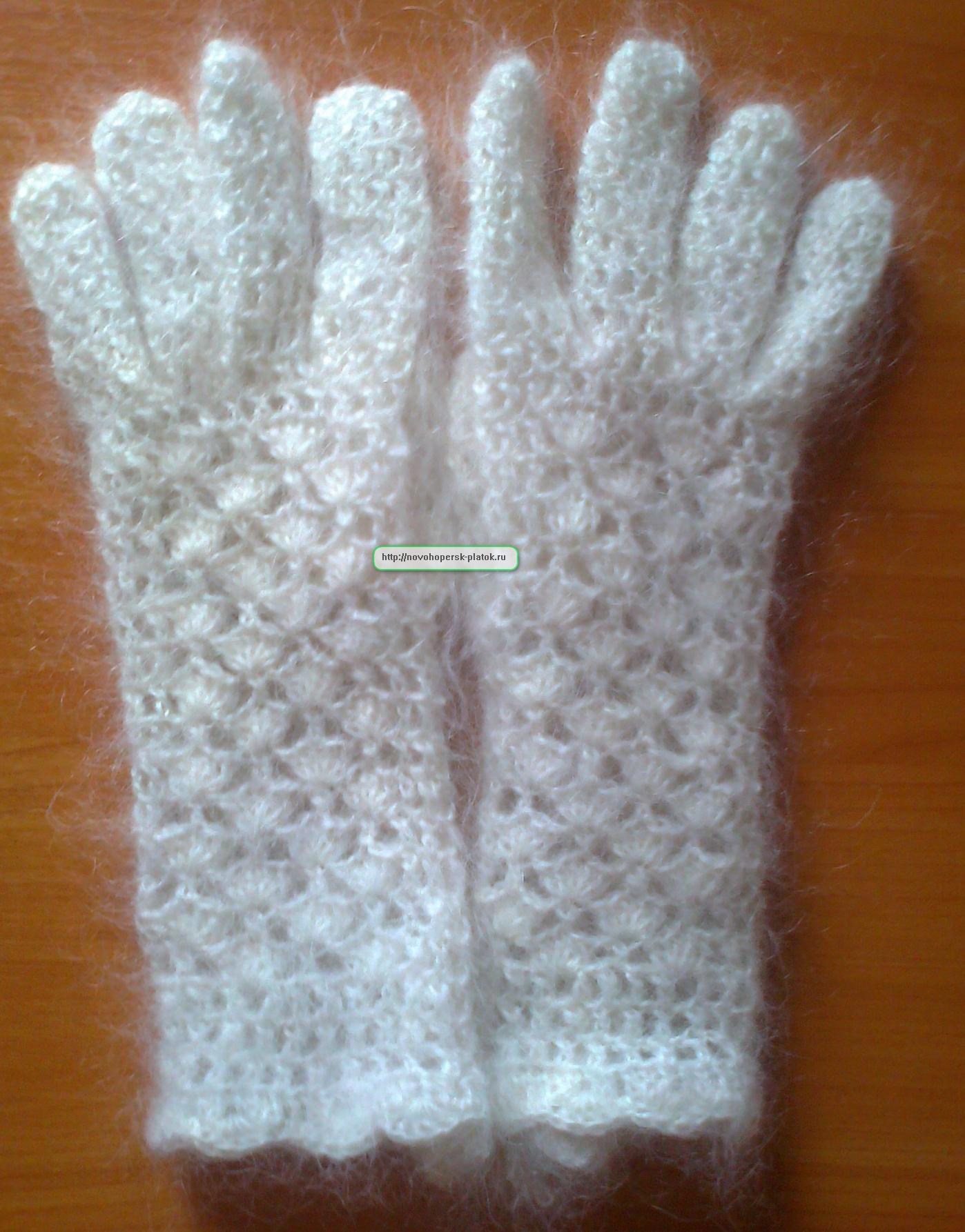 Ажурные перчатки ручной работы связанные крючком.Пуховые натуральные качественные