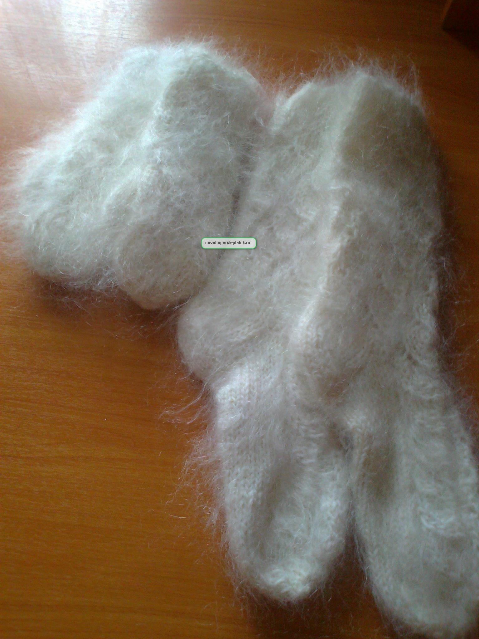 комплект носки и варежки пуховые ажурные