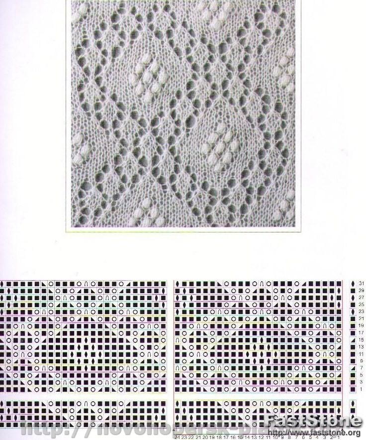 Вязание спицами-ажурный узор на косынку